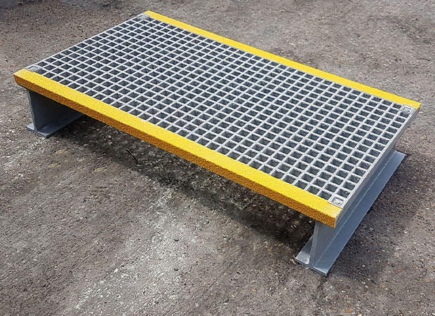 Bespoke GRP step-over platform for walkways and dangerous obstructions