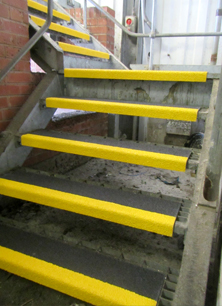 Anti-slip stair treads fire exit.